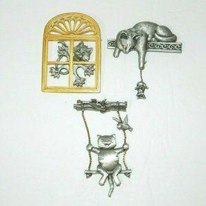 3 Vintage JJ Jonette Jewlery CAT pin Brooch pewter